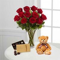 The FTD® Roses Teddy & Godiva Bouquet, USA