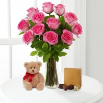 Pink Roses with Bear & Godiva®, USA