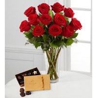 Red Rose Bouquet with Godiva® Chocolates, USA