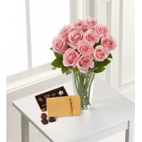 The FTD® Pink Rose & Godiva Bouquet, USA